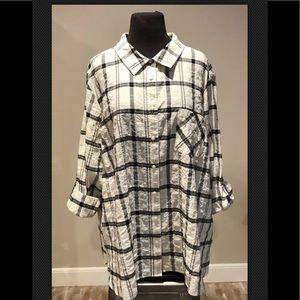 Tommy Hilfiger Plaid Cotton Tunic Blouse Plus 2X